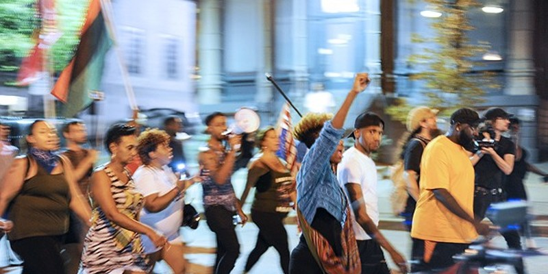 Protesters march through St. Charles in 2017 following the acquittal of ex-St. Louis police officer Jason Stockley.