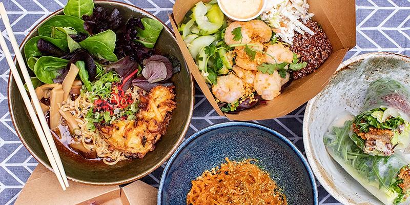 A selection of items from Zenwich: vegan ramen, spicy garlic shrimp quinoa bowl, crispy chicken gyoza, mentaiko ramen and basil crab cake wrap.