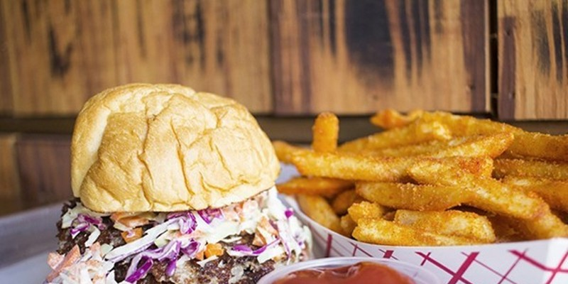 """You can still get your burger and """"Rip Fries"""" fix at Mac's Local Eats inside Bluewood Brewing Company."""