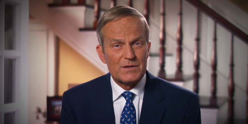 """Todd Akin, a former Missouri lawmaker and politician, shown here in his (later-retracted) apology for his """"legitimate rape"""" comments in 2012."""