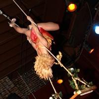 Show-Me Burlesque at Off Broadway Lola Van Ella swinging.