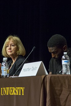 St. Louis Mayor Lyda Krewson faced harsh questions about the police department earlier this month at a town hall meeting at Harris-Stowe.