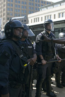 Police hold the line in downtown St. Louis.