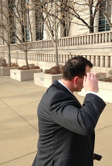 William Cafarella dodges the camera in December 2016 as he leaves federal court.