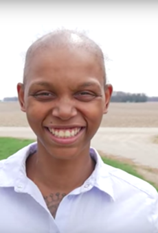 Brittany Walker, shown in Matt Bouchin's film after losing her hair following chemo treatments.
