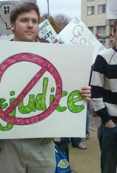 """James O'Keefe (in the striped shirt) photographed """"undercover"""" during a 2009 pro-LGBT rally in St. Louis."""