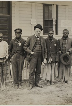 "Samuel Phillips Verner (center) with random Africans he bought at the behest of Louisiana Purchase Exposition and passed off as ""pygmies"" at World's Fair."