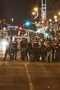 Police mass downtown on September 17, 2017, the night of the controversial kettle that swept up Post-Dispatch reporter Mike Faulk.