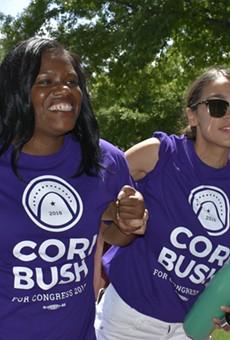 Cori Bush and Alexandria Ocasio-Cortez going door-to-door.