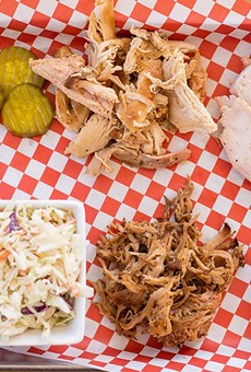 """The """"Taste of the Pit trio"""" features pulled chicken, turkey breast, pulled pork and creamy slaw."""