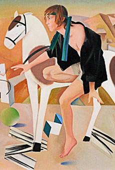 Paul Shank's Dismounting at Horta de Ebro, 2008, oil on canvas.