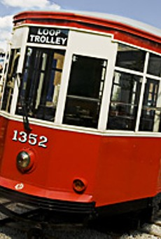 A vintage trolley car stationed in the Delmar Loop awaits construction of a track.