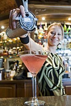 Bartender Erin Davis pours a strong one.