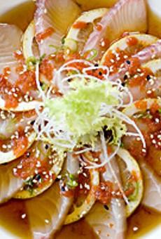 Café Mochi's  tai sashimi in ponzu sauce.