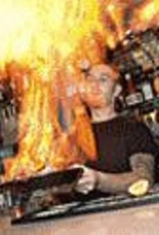 Ben Roberts combines our two favorite elements --      fire and cheese -- to create saganaki.