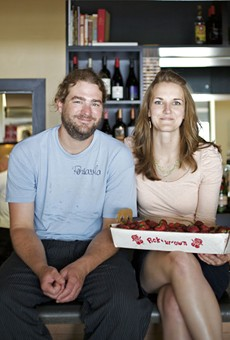 Farmhaus' Kevin Willmann with girlfriend and front-of-the-house manager, Jessica Hanzlick.