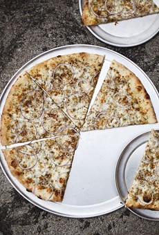 """Kind of nuts: """"The Bradley"""" comes topped with Parmigiano-Reggiano, red onion, rosemary and pistachios."""