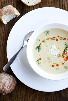 The stockpot special of the day - Sweet Corn Crab Soup. A creamy corn base with with olive oil, lemon zest, sauteed corn kernels, smoked paprika oil and lump crab.