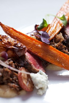 """Course three — """"Cow"""" —; is beef prepared two ways with parsnip miso, root veggies, pearl onions and Maytag blue cheese. See more photos from Little Country Gentleman."""