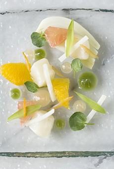 The minimalist bay scallop crudo from Elaia's tasting menu. Slideshow: Photos from Inside Elaia and Olio
