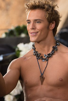Sam Claflin as Finnick Odair in The Hunger Games: Catching Fire.