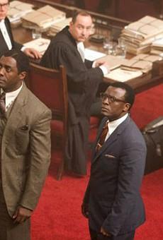 Still of Idris Elba, Tony Kgoroge, Riaad Moosa and Thapelo Mokoena in Mandela: Long Walk to Freedom.