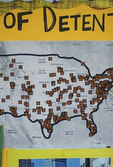 First Friends program director Sally Pillay keeps a map on her office wall that shows detention centers nationwide.
