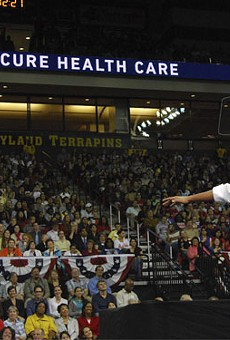Early in his presidency, Barack Obama tried to get the youth involved in the fight for health-care reform with events like this 2009 rally at the University of Maryland.