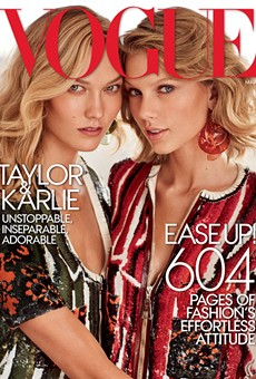 Karlie Kloss with her BFF Taylor Swift on the latest cover of Vogue.