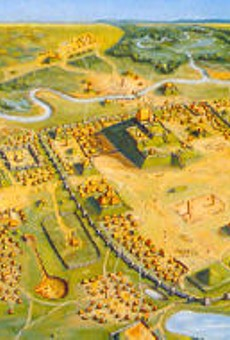An artist's rendering of ancient Cahokia. Say, is that an Arch?