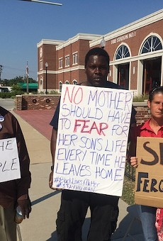 Louis Wilson, Jermell Hasson and Angelique Kidd are regular South Florissant Avenue protesters.