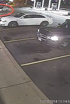 A screenshot of surveillance footage showing the police shooting of Antonio Martin.