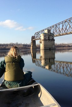 Anne McCullough on the Mississippi near the Chain of Rocks Bridge