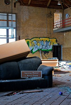 An abandoned YMCA gym somewhere in St. Louis.