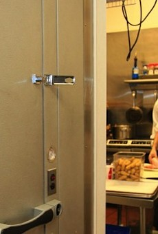 "A view of DiMercurio from the kitchen's ""Walken"" fridge   Beth Clauss"
