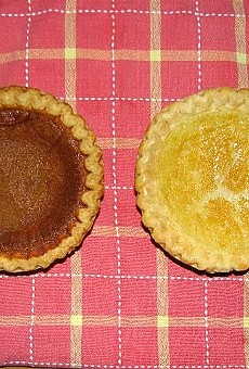 Bean Pie to the left, Buttermilk Pie to the right