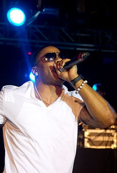 Nelly in happier times, performing in Kiener Plaza.
