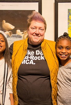 Jefferson Elementary School students Tyler Carlis, left, and Eliyah Grimes-Jackson, right, were among the ten MetroScapes winners.