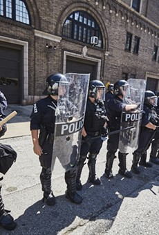 St. Louis officers face off with protesters on September 15, 2017, the day a former officer was acquitted of murdering a suspect.