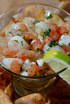 Ceviche, made of conch, shrimp, scallops and whitefish, is served with taro chips.