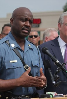 Captain Ron Johnson, shown here during a press conference on August 15, 2014, was handed the reins to the Ferguson command after nights of unrest.