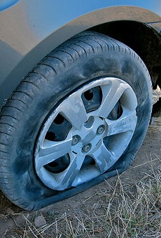 A flat tire did not stop a carjacker in north St. Louis, police say.