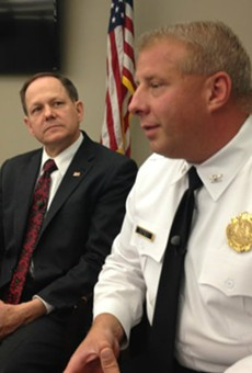 Mayor Francis Slay and Police Chief Sam Dotson discuss a September 25 shooting outside Busch Stadium.