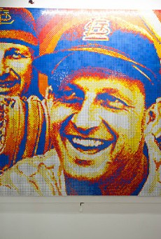 Connor Wright with his tribute to Stan and the Man — and the fine art of pointilism.