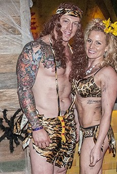 Halloween revelers at last year's Ballpark Village party — $4,000 goes to the winning costume this year.
