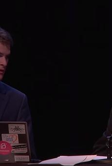 Mark Schierbecker, left, and his (now ex) publicist  Danielle Muscato at Skepticon 8.