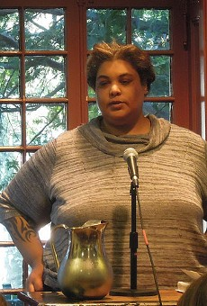 Roxane Gay speaking at a different event in April 2014.