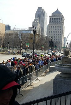 The crowd outside Peabody Opera House this morning.