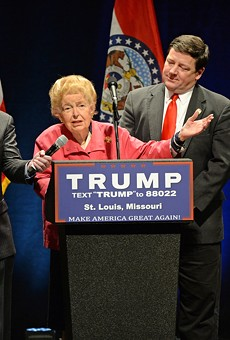One of Phyllis Schlafly's last political acts was to welcome Donald Trump to St. Louis. Fuck you too.