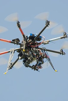 Drones like this should not be allowed over sports stadiums, the St. Louis Cardinals say.